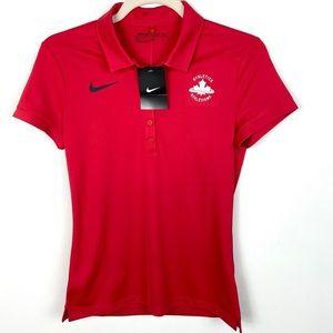 Nike Canada Coach Polo Shirt Red Short Sleeves NWT